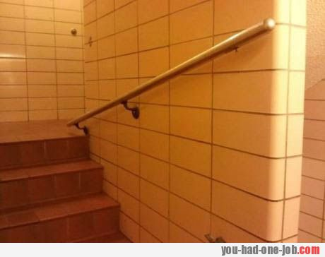 Hold on so you don't fall in the stairs